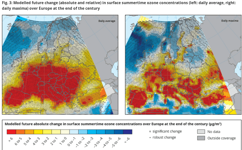 Przewidywany wzrost stężeń ozonu w Europie pod koniec stulecia. Źródło: Europejska Agencja Środowiska.