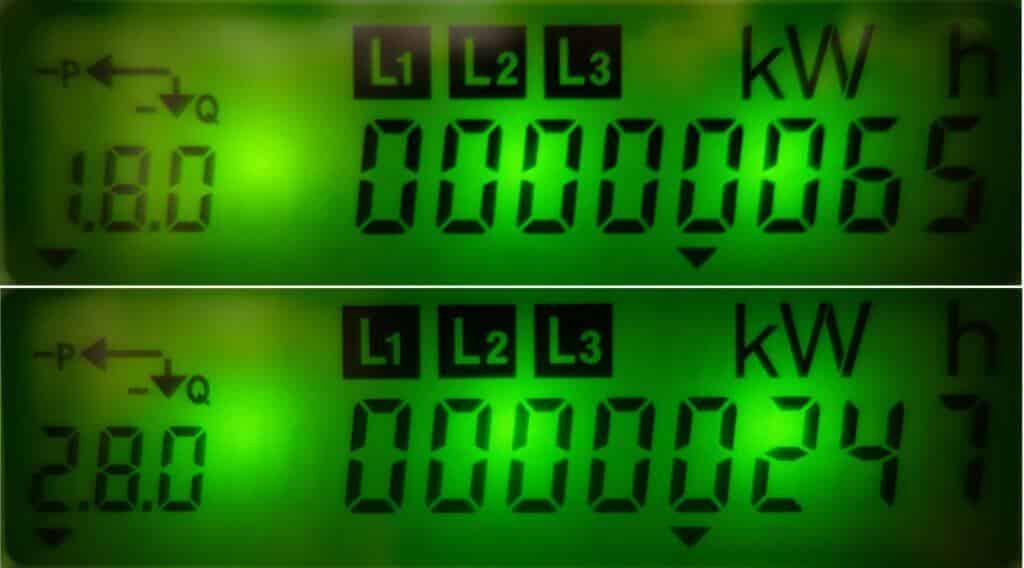 1.8.0 – energia pobrana, 2.8.0 – energia oddana