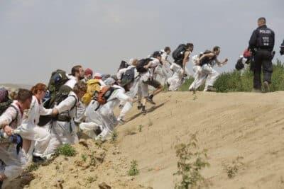 kilkuset protestujących blokowało działanie kopalni w niemczech