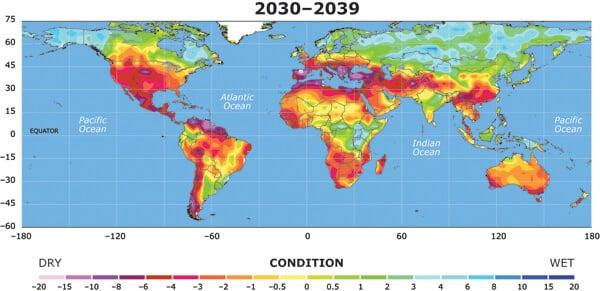 Mapa suszy 2030 - 2039.