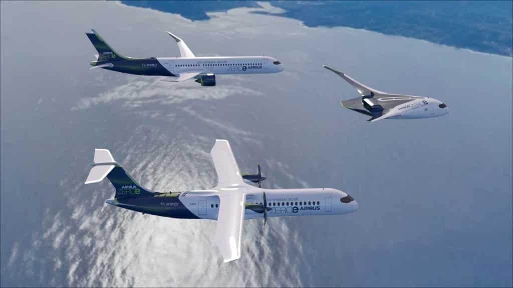 Airbus pokazał trzy projekty tego, jak będzie wyglądał samolot na wodór. Od przypominającego dzisiejsze samoloty pasażerskie do futurystycznego skrzydła. Źródło: Airbus.