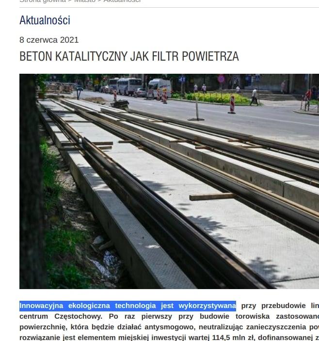 """Urząd Miasta Częstochowa chwali się """"innowacyjną ekologiczną technologią"""". To beton antysmogowy."""