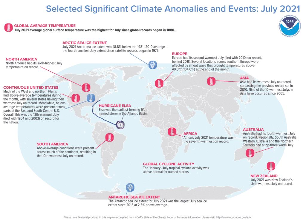 Rekordowo ciepły lipiec to niejedyna warta uwagi informacja dotycząca pogody w lecie 2021 roku. Źródło: NOAA.