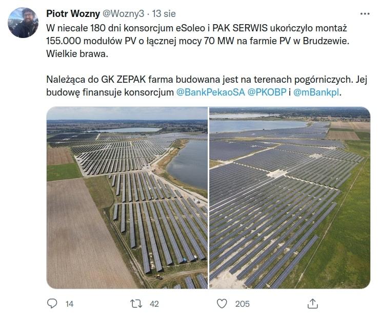 Największa farma fotowoltaiczna w Polsce. Piotr Woźny. ZEPAK.