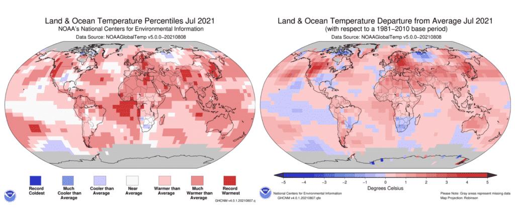 Mapy prezentujące rozkład temperatur, który przyniósł rekordowo ciepły lipiec. Źródło: NOAA.