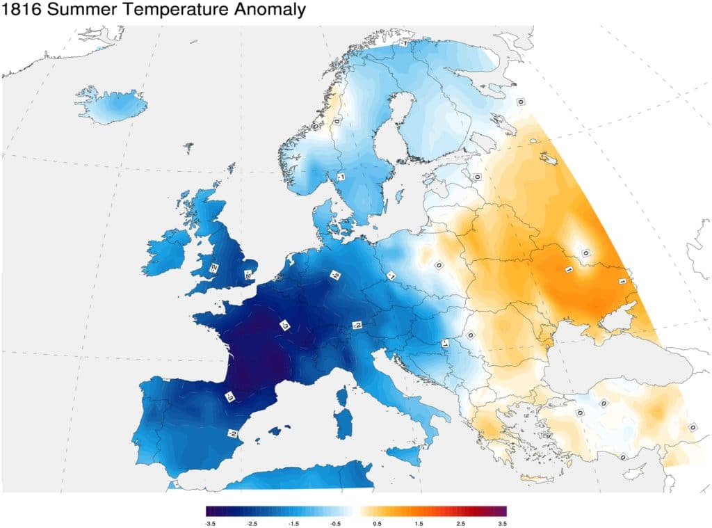 Anomalie temperatury w lecie 1816 roku w Europie. Źródło: NOAA/Creative Commons. Wulkany CO2